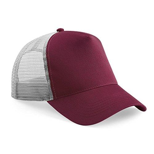 Beechfield Herren Mesh Trucker Baseballkappe Burgundy/ Light Grey,Burgundy/ Light Grey Panel-mesh-cap