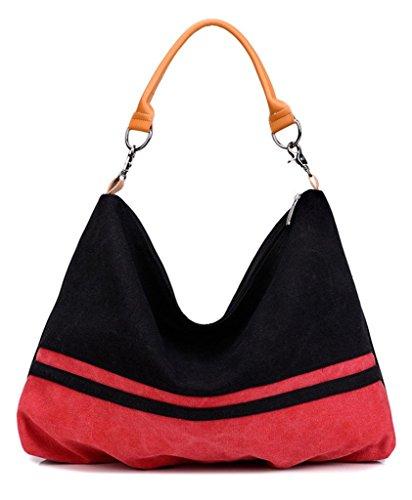 Auspicious beginning Korean 2 Nähte Art und Weise einfache Retro braun Schultertasche für Frauen Rot
