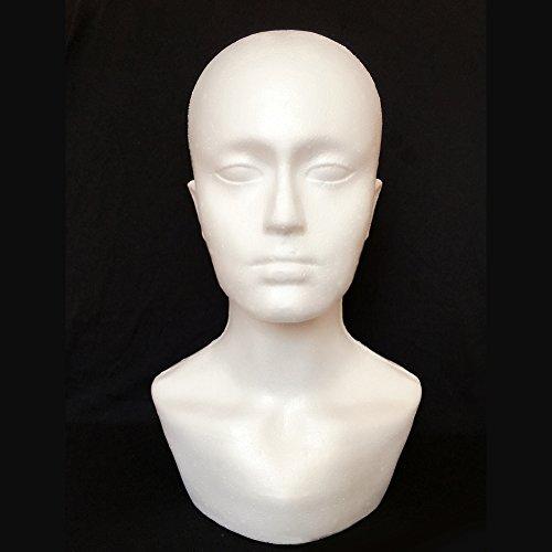 P12cheng Schaufensterpuppe, Manikin-Kopfmodell, Männlicher Schaum Mannequin Kopfmodell, für Vitrinen, Hut, Perücke, Schals, Weiß (Eine Zoll Schaum-blöcke)