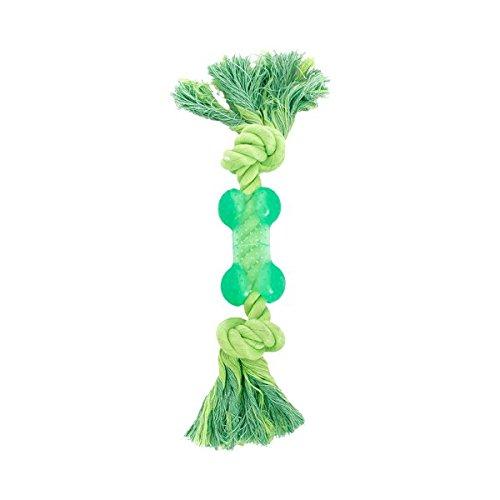 Giocattolo Massaggiagengive per cani Nobleza, in corda e osso di gomma colore: verde, lungo 27cm