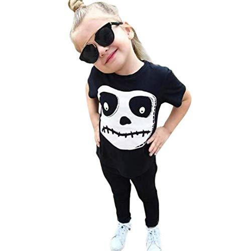 QinMM Kleinkind Baby Halloween Outfits Set, Jungen Mädchen Schädel Print Tops Hosen Halloween Kostüm Outfits Set Schwarz Für 12 Monate-4 Jahre (18M, Schwarz)