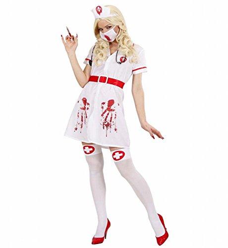 Widmann 87151 - Erwachsenenkostüm Blutige Infizierte Krankenschwester, Kleid mit Gürtel, Kopfbedeckung, Gesichtsmaske und Stethoskop, Gröߟe (Halloween Outfits Krankenschwester)