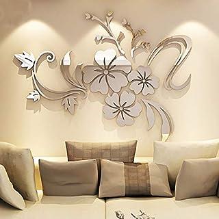 Asvert Spiegel Aufkleber 3D Wandaufkleber Fenster Abziehbilder Wand  Dekoration TV Hintergrund Deko Wandtatoo   Spiegelfläche Blumen