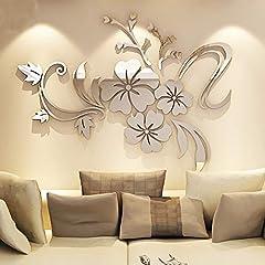 Idea Regalo - Alicemall - 12 adesivi da parete 3D a forma di farfalla, decorazione fai da te per casa e stanze, Acrilico, Silver, 100 x 90 cm
