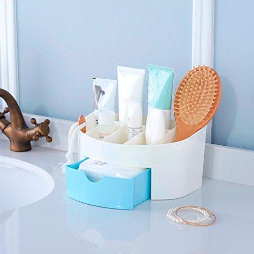 Tiroir cosmétique Covermason Tiroir de Rangement Bureau Maquillage Cosmétique Supports Boîte économiser de l'espace (22X14X11 cm, Bleu)