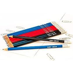 12HB lápices de grafito personalizado con nombre (impreso en oro), color Mix (4 of each colour)