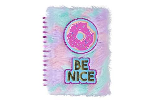 Tri-Coastal - Cuaderno con anillas a rayas con cubierta en piel sintética de color suave, espiral diario de tapa dura, cuaderno anotado en alambre Cuaderno grueso rayado blanco (donut)