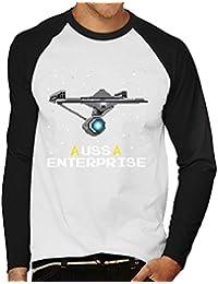 Star Trek Enterprise Ship Pixellated Men's Baseball Long Sleeved T-Shirt