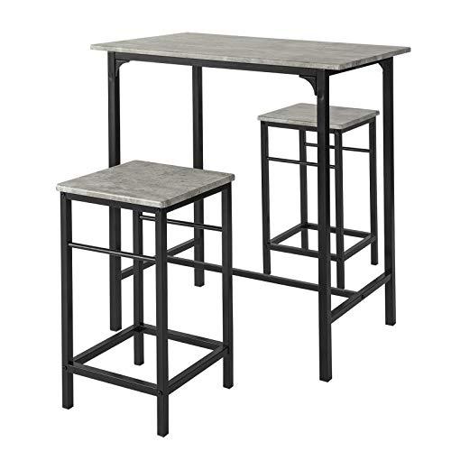 SoBuy OGT10-HG Bartisch Set 3-teilig Stehtisch Bistrotisch mit 2 Stühlen Esstisch Sitzgruppe grau