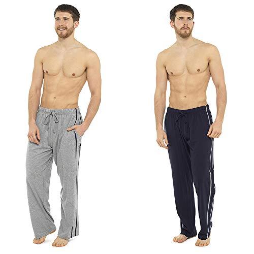 Pack 2 Hombre/Caballeros Pijama Liso pijama Pantalones