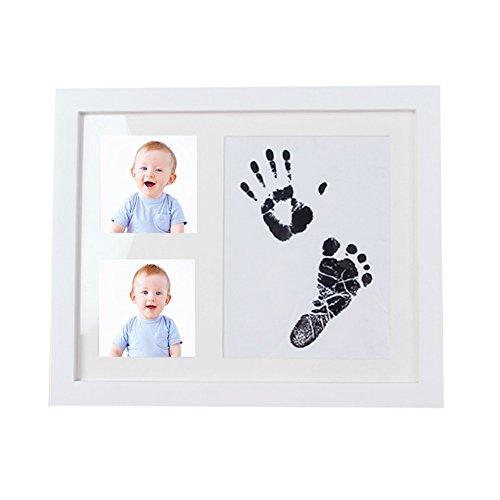 Baby Handabdruck & Fußabdruck Fotorahmen Kit, Holz Baby Handabdruck Fußabdruck Bilderrahmen diy Andenken beste Baby Dusche Geschenk einzigartige Weihnachtsschmuck Dekoration für Mädchen Jungen (Beste Weihnachtsschmuck)