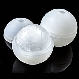 """Silikon Ice Ball Maker - Ice Ball Mold Sphere BPA frei 2pcs x 2.5 """"- Runde Eis für Slow-Schmelz Dann Ice Cubes Ice Tray oder Presse - Best for Japanese Style Whiskey, Cocktail und jedes Getränk - Cold Ihr Getränk Gleichmäßig und langsam schmelzen, damit Ihr Getränk Holen Sie nicht verdünnt."""