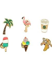 6 pezzi set di spilla pins Caffè Palma Fenicottero Banana Gelato Lapel spilletta