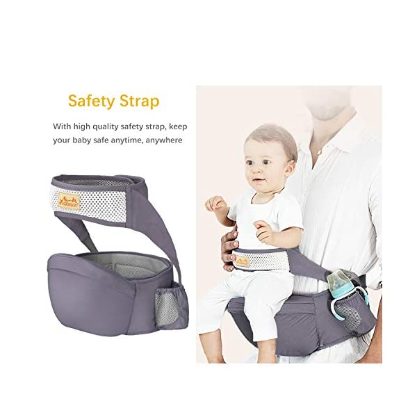 Viedouce Hip Seat Baby Carrier with Safety Belt Protection, Pure Cotton, Lightweight Ergonomic Waist Stool,Multi Positions Baby Front Carrier for 3-48 Month (Dark Grey) Viedouce 【ERGONOMIC DESIGN】 - Hip seat baby carrier perfectly adapts to your growing baby, allows baby to be in a natural sitting position and ride facing in or out. Effectively reduces the stress on your back whenever you carry baby at home, at work or while you travel.(Recommended by the International Hip Dysplasia Institute (IHDI) and pediatricians to prevent O-legs and poor blood circulation). 【Multiple Safe Guaranteed】- Come with the professional climbing double socket buckle design, which has strong bearing capacity, plus the baby safey belt provide extra support and security to prevents from falling off and safely hold the baby. 【Made for comfort】- The Baby Carrier Stool surface is filled with skin-friendly natural cotton fabric,lined with a 15mm memory foam pad around the abdomen for you. The inner cushion (detachable hip seat) is made of EPP foam, safe and to deform, which means great comfortable for you and baby. 4