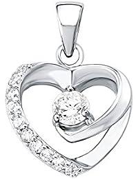 Amor Damen-Anhänger Herz 925 Sterling Silber glänzend Zirkonia weiß 20 mm