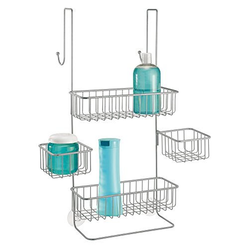mDesign Shower Tray for Hanging Over the Shower Door - Shower Organiser without Drilling - Shower Baskets for the Bathroom - Silver