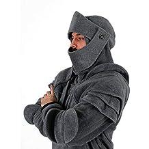 VPASS Abrigo Hombre Invierno,Disfraz de Armadura de Caballero con Capucha de Medieval para Hombre Sudadera de Manga Larga con Capucha y Bolsillos