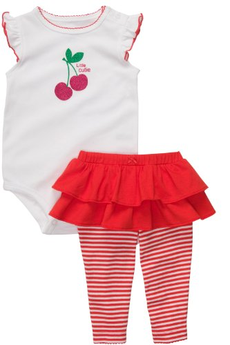 Carter's 2 teilige Kombination für Mädchen Body + Leggings / Hose Baby girl dress Sommer Outfit Set 2 teilig tlg (6 Monate, rot/weiss) Girl Carters Legging