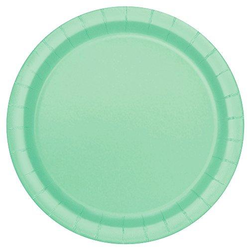 Unique Party - Platos de Papel - 23 cm - Verde Menta - Paquete de 16 (99225)