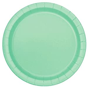 Unique Party- Paquete de 16 platos de papel, Color verde menta, 23 cm (99225)
