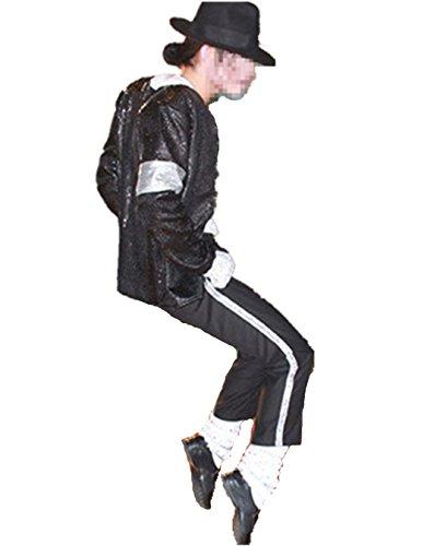 Guangmu Michael Jackson Billie Jean Rollenspiele Kostüme Erwachsener und Kind Party Tanzparty Verkleiden Schwarze Paillette - Jacke + Pants + Hut + Socken + Handschuh (XS (H:140-150cm W:35-40kg))