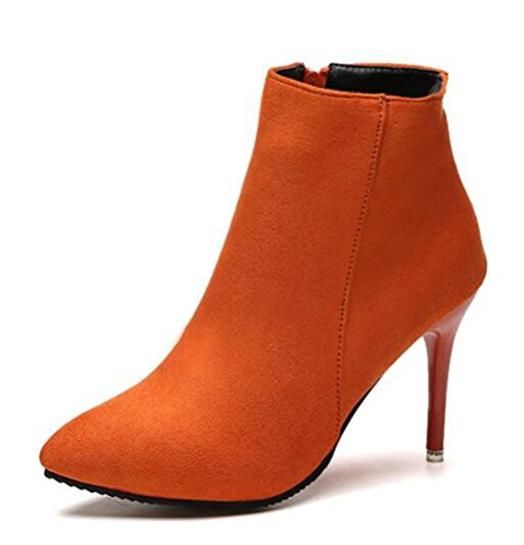 Easemax Damen Sexy Pointed Toe Anzugschuhe Pumps Nubuk High Top Stilettos Stiefel Orange 37 EU