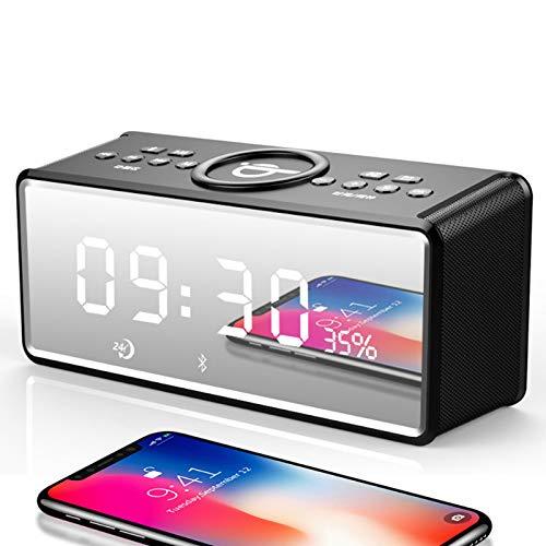 MYGIRLE Radiowecker mit Qi kabellos Laden, Bluetooth-Lautsprecher, USB-Schnellladefunktion für iPhone XS Max, XS, Xr, X, 8, 8 Plus, Samsung Galaxy S9, S9, S8, Note 8, S7, S7 Edge