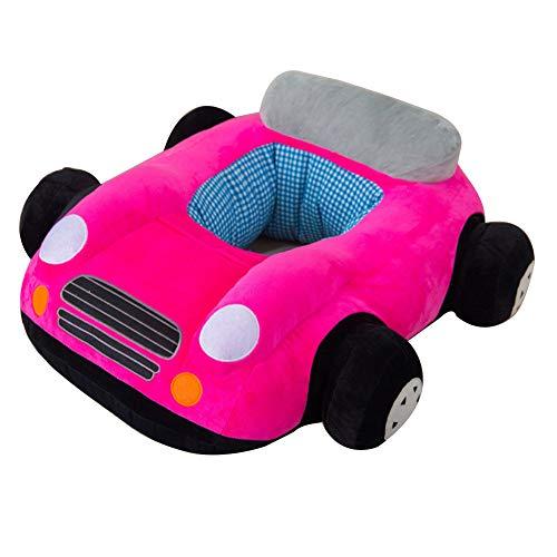 Softneco Portatile Divano per Bambini, Piccola Sedia di Salotto di apprendimento Supporto Lombare Morbido farcito Auto a Forma di Peluche Giocattoli per Bambini -Rosa 70 x 60cm