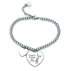 Idea Regalo - Beloved ❤️ Braccialetto da donna, bracciale in acciaio emozionale - frasi, pensieri, parole con charms - ciondolo pendente - misura regolabile - incisione - argento