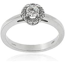 Anillo de compromiso en oro blanco y diamantes - Gioiello Italiano