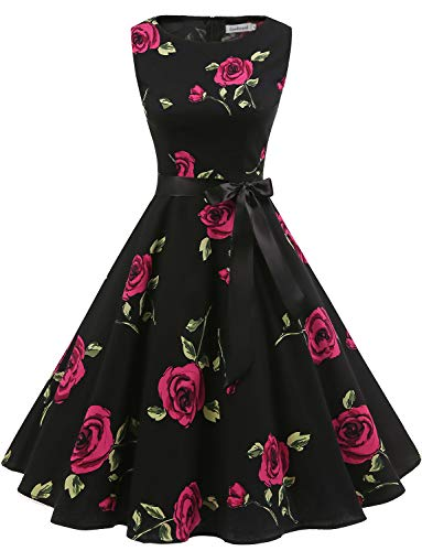 er Vintage Cocktailkleid Rockabilly Retro Schwingen Kleid Faltenrock Black Rose S ()