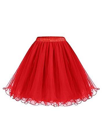 ALAGIRLS Femme ALA80001 Jupon Sous Robe/Jupe années 50 vintage Crinoline Petticoat Rétro en Tulle Rouge 2XL