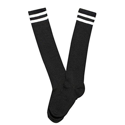 Mytobang Socken Eishockey Herren Damen Kinder 3 Streifen Fußball Sport Socken Socken Fußball Fußball Baseball Socken Knie Hoch Lange Tube Socken Cheerleadings Herren Damen Sport Streifen, 1 Paar (schwarz)
