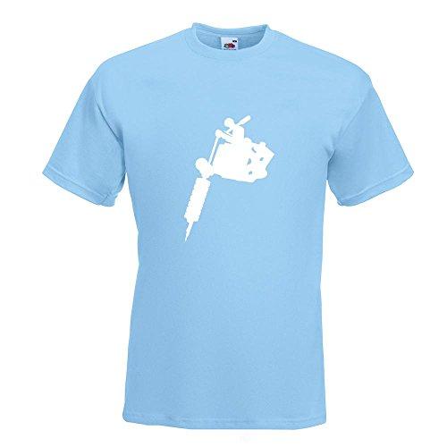 KIWISTAR - Tätowiermaschine T-Shirt in 15 verschiedenen Farben - Herren Funshirt bedruckt Design Sprüche Spruch Motive Oberteil Baumwolle Print Größe S M L XL XXL Himmelblau