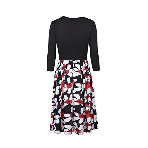 iShine A-Linie Kleid Damen Knielang Skaterkleid Business Kleid elegant  Etuikleid 3/4 Arm ...