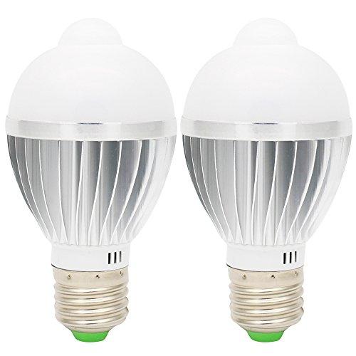 2er E27 LED Birne Glühbirne Lampe Leuchtmittel 5W mit PIR Sensor Bewegungssensor Bewegungsmelder Kaltweiß Pir-sensor Bewegungsmelder