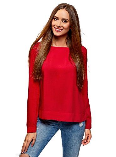 Oodji Ultra Mujer Blusa de Viscosa Básica, Rojo, ES 34 / XXS
