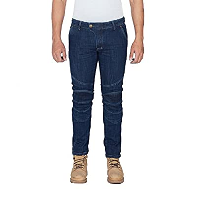 HB Straight Fit Aramid Reinforced Motorcycle Jeans, Stretch, Straight Fit , Blue, Free Protectors.