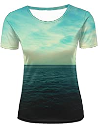 Men T-Shirt 3D Digital Pinted Dark Sea Blue Sky Crewneck Casual tee Shirt Tops