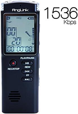 Grabadora de Voz Digital, AngLink 8GB 1536 Kbps Grabadora Recargable Portátil y Grabación Activada por Voz con Micrófono, Negro