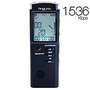 Dictaphone Numérique, AngLink 8Go Enregistreur Vocal Portable,Activation Vocale, Connexion PC, Rechargeable et Lecteur Mp3 avec MICRO stereo