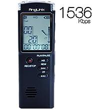 AngLink 8GB Registratore Vocale Digitale Portatile Supporta MP3 con Microfono stereo, Display LCD e Attivazione Vocale