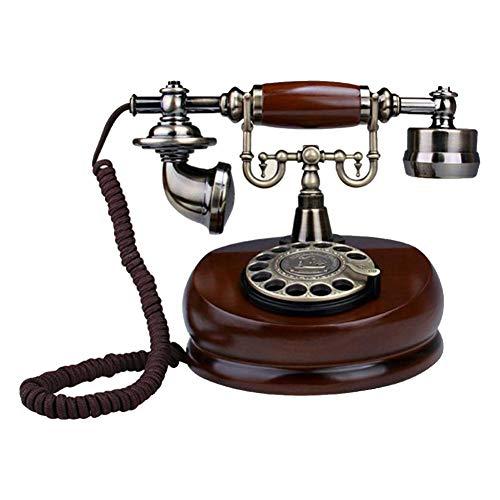 starter Rotary Dial, teléfono clásico con Madera Antigua, Retro, con Cable, teléfonos...