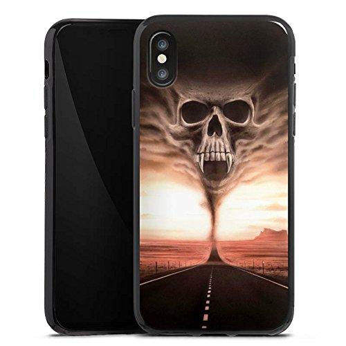Apple iPhone X Silikon Hülle Case Schutzhülle Skull Wüste Schädel Silikon Case schwarz