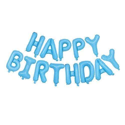 """Trimming Shop 16"""" (41cm) Feliz Cumpleaños 13 Letras Aluminio Pancarta Globos Incluido con Inflador Paja para Cumpleaños Decoración Fiesta y Suministros - Bebé Azul, 16"""""""