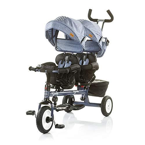 Chipolino Tricycle Dreirad Apollo für Zwillinge mit Lenkstange, Sonnendach, Korb (Hellblau)