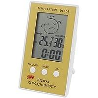 Cubierta de temperatura digital de humedad de prueba termómetro higrómetro Amarillo Blanco