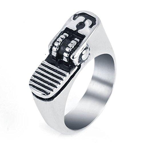 DOLOVE Punk Titan Ringe für Herren Feuerzeug Gothic Ring Silber Partnerring Herren Ringe Größe 65 (20.7)