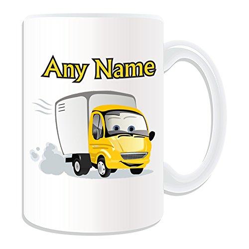 """Personalisierter Geschenk-großes, gelbes Van Verkehr (Design """", Weiß-jeder Name/Nachricht an ihr einzigartiges Truck LKW KFZ Auto-Transportbox Cargo Express Lieferung"""