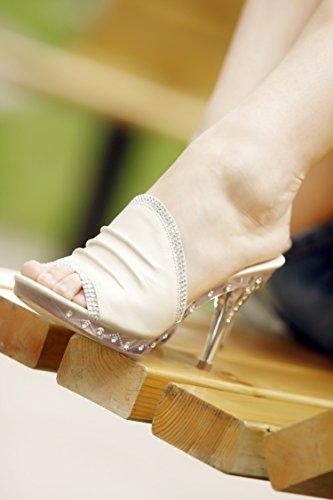 ZYUSHIZ Bureau imperméable artificiel artificiel Cool Pantoufles Forage Crystal High Heel avec tête fendue, sandales pantoufles sauvages Blue